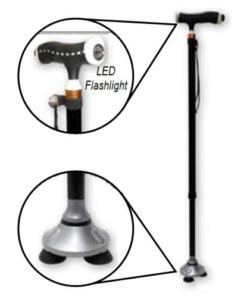 Μπαστούνι ρυθμιζόμενο με βάση Stand up και Led φακό - Roi Medicals