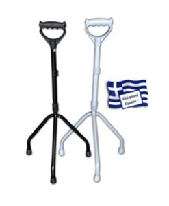 Τρίποδο μεταλλικό μπαστούνι με κλειστή χειρολαβή - Roi Medicals
