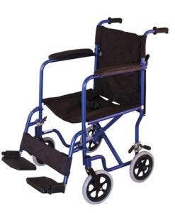 Αναπηρικό αμαξίδιο μεταφοράς μπλέ αλουμινίου - Roi Medicals