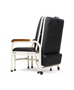 Καρέκλα συνοδού δερμάτινη μαύρη (γίνεται σε κρεβάτι)-Roi Medicals