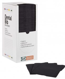 Οδοντιατρική πετσέτα χωρίς λαιμόκοψη (125 τμχ) Μαύρο - Roi Medicals