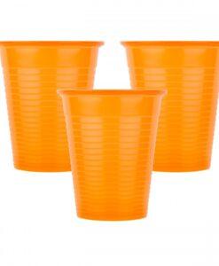 Οδοντιατρικά ποτηράκια πλαστικά Πορτοκαλί 180ml (100τμχ)-Roi Medicals