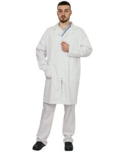 Ιατρική στολή αντρική TROT SMOCK με φερμουάρ λευκή - Roi Medicals
