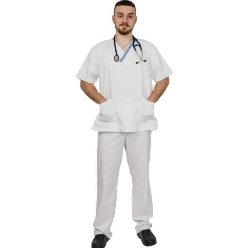 Ιατρικό κουστούμι εφημερίας ανδρικό TROT SCRUB λευκό- Roi Medicals
